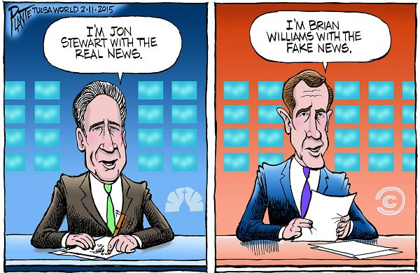 Bruce Plante Cartoon: Jon Stewart and Brian Williams; Comedy Central; NBC News; trust; distrust; real news; fake news; Comedy Central, NBC Nightly News, Plante 20150212
